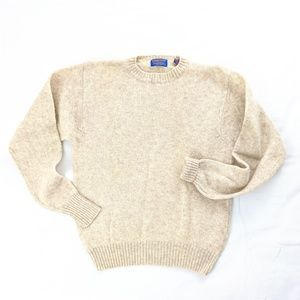 VTG Pendleton Cream Shetland Virgin Wool Sweater